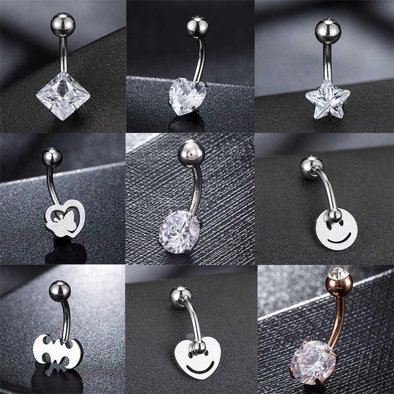 Fashion Panas Sederhana Seksi Kursi Stainless Steel Stainless Steel Belly Button Cincin Tindik Pusar Wanita Piercing Perhiasan