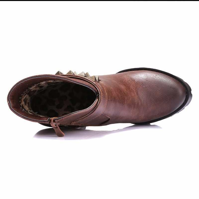 QUTAA/Новинка; Лидер продаж; Женские модные зимние ботинки; Обувь на платформе с высоким квадратным каблуком и заклепками; Размеры 34-39