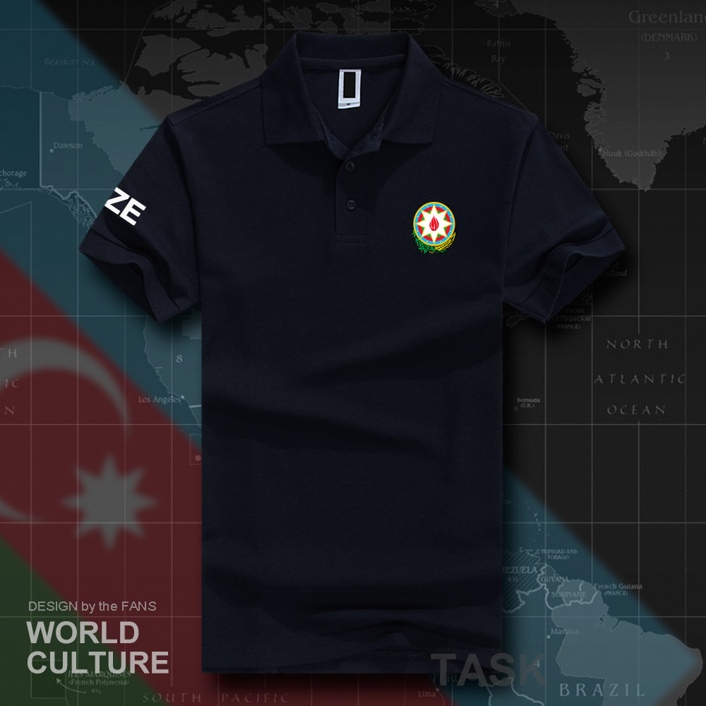 Republic of Azerbaijan AZE   polo   shirts men short sleeve white brands printed for country 2018 cotton nation emblem new fashion