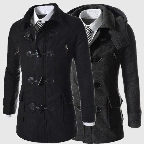 Пальто Бренд Мужской Классический мужская Рог Кнопку Пальто Masculino Мужская Одежда Длинные Куртки и Пальто Британский Стиль пальто