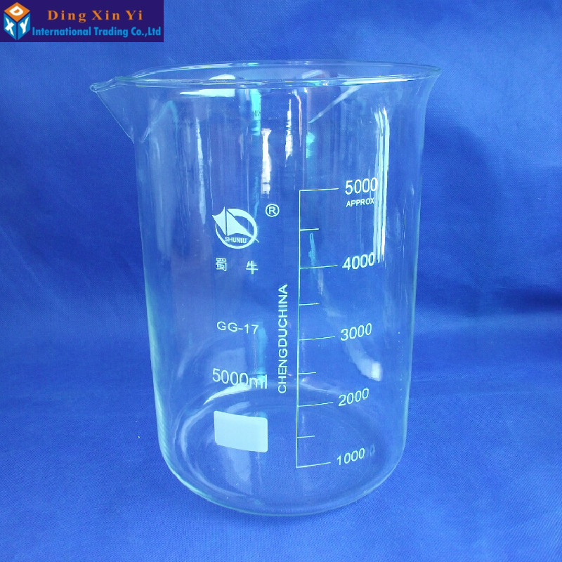 SHUNIU Glass beaker 5000ml,Lab beaker 5000ml,Low form with graduation and spout Boro 3.3 Glass Chinese famous brand shuniu 500ml tall beaker lab beaker 500ml beaker in tall form with graduation and spout boro 3 3 glass
