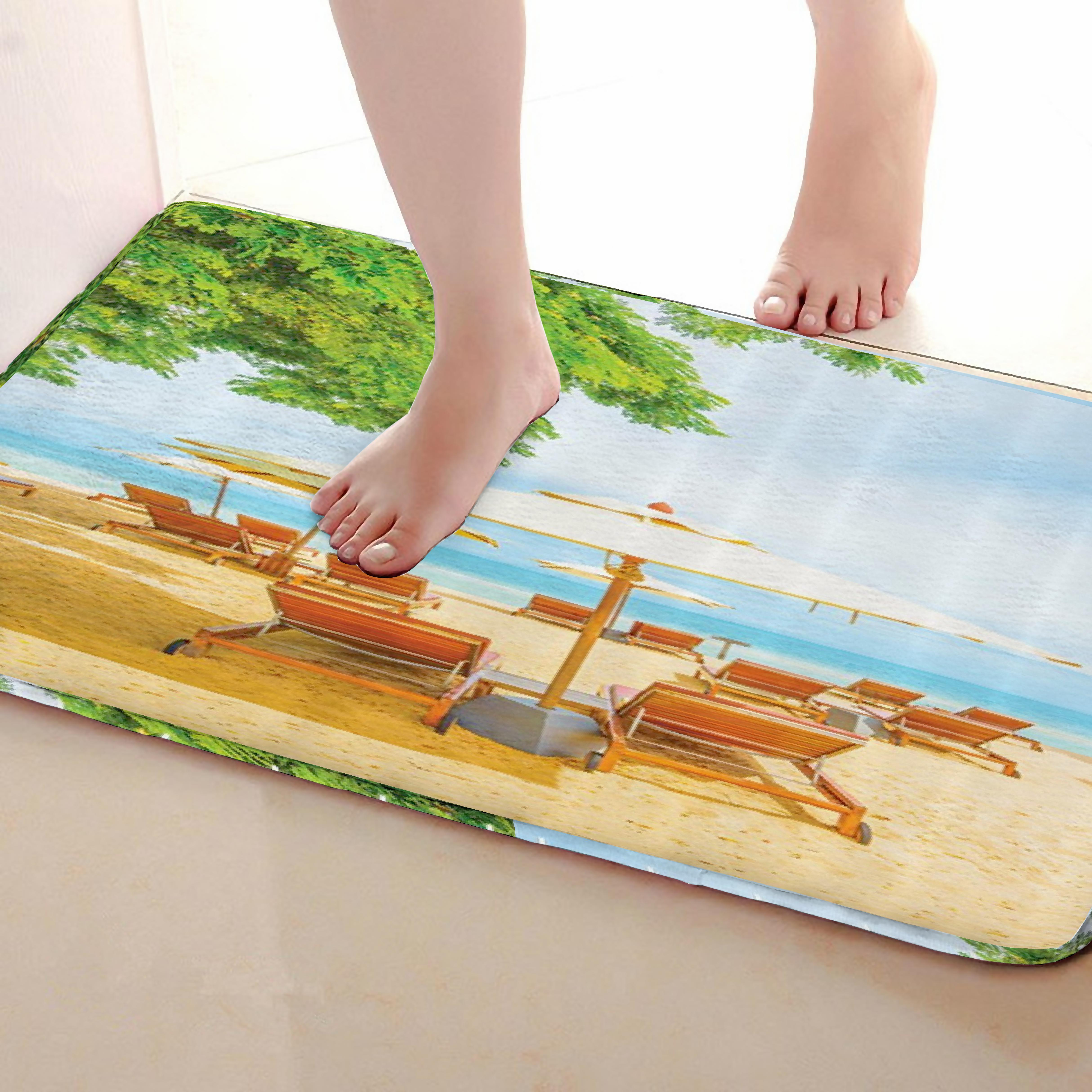 Beach Style Bathroom Mat,Funny Anti skid Bath Mat,Shower Curtains Accessories,Matching Your Shower Curtain