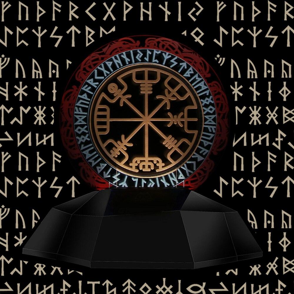 1 pezzo Vichingo Simbolo 3D Lampada Linea Bussola Vichingo Rune Progettato Lampada 3D Optical Illusion Lampada Decor Magico Stave Da Tavolo lampada