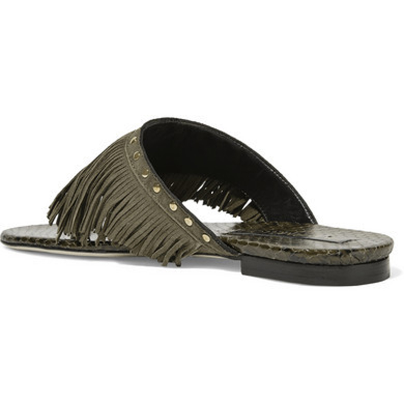 56b0de2efd602b Women Slippers Outside Summer Flats Army Green Fringe Suede Slides Portable  Patent Leather Flip flops Solid Beach Shoes Female-in Slippers from Shoes  on ...