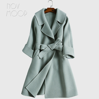 מעיל צמר חורף עם חגורת 4 צבעים מוצק בסגנון אמריקאי פעמים מול צמר מעילי פאטאל manteau abrigos invierno mujer LT1273