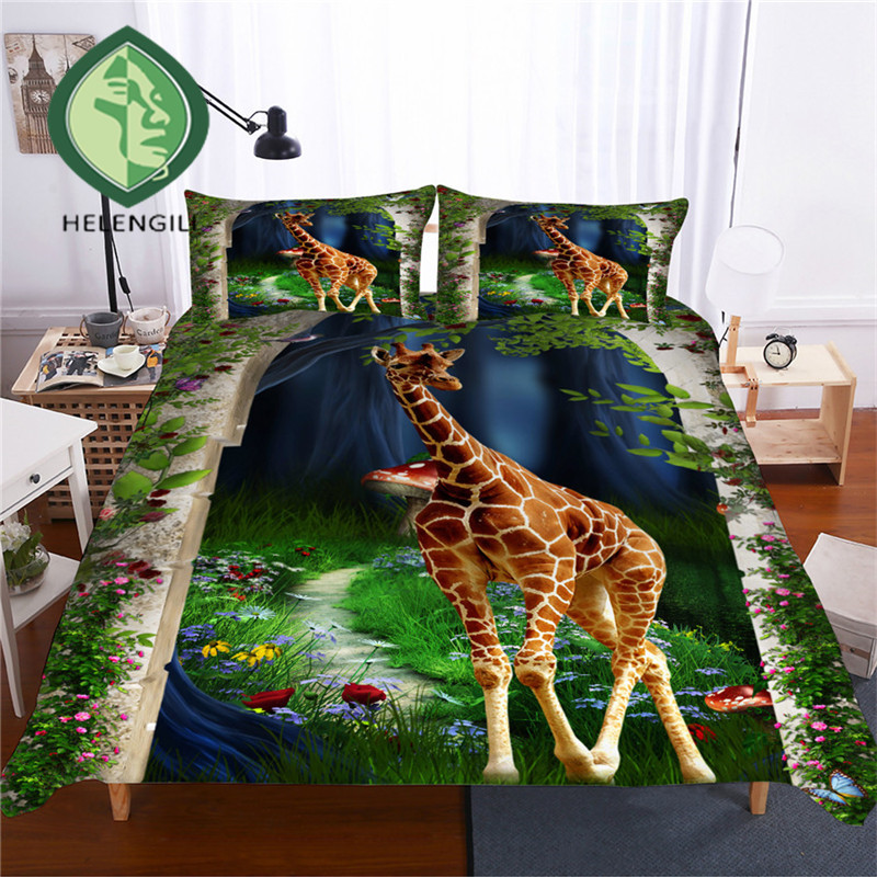 HELENGILI 3D Bedding Set Giraffe Print Duvet Cover Set Lifelike Bedclothes with Pillowcase Bed Set Home Textiles #CJL-09HELENGILI 3D Bedding Set Giraffe Print Duvet Cover Set Lifelike Bedclothes with Pillowcase Bed Set Home Textiles #CJL-09