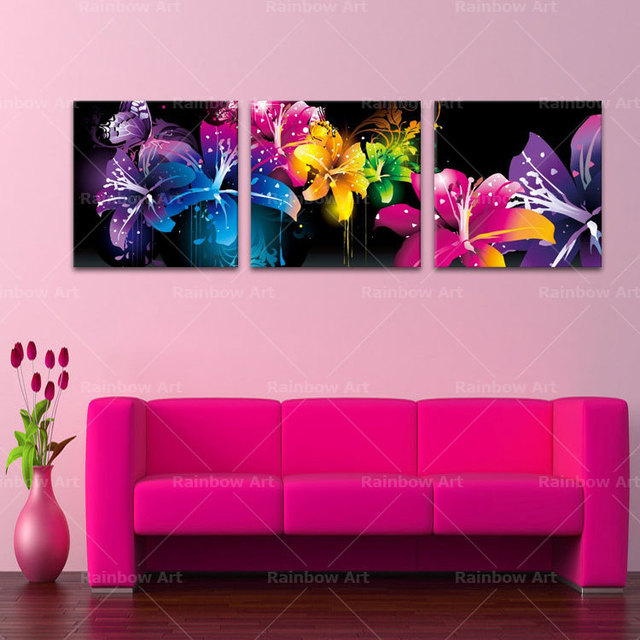 3 Panel Modern Printed Beautiful Flowers Paintings Canvas Wall Art ...