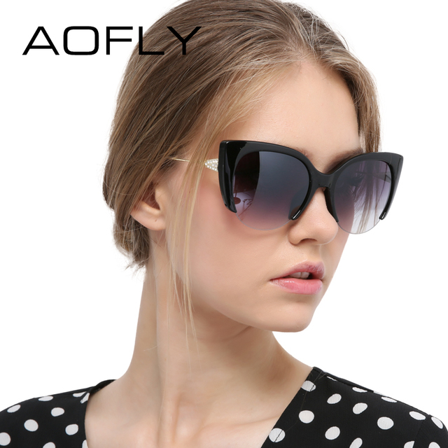 AOFLY Cat Eye Sunglasses Semi-Rimless Glasses Fashion Women Brand Designer Mirror Sun glasses Vintage Alloy Legs Oculos UV400