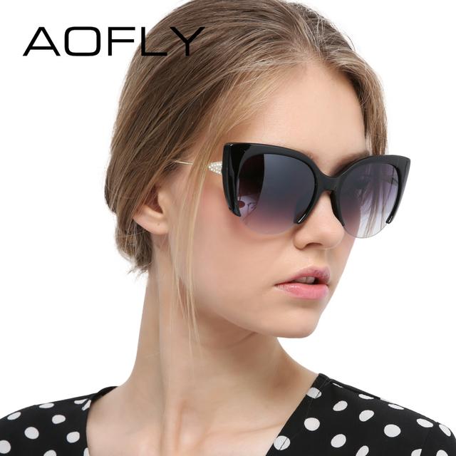 Aofly cat eye sunglasses semi-sin montura gafas de moda de mujer de marca diseñador espejo patas de aleación de gafas de sol de la vendimia oculos uv400