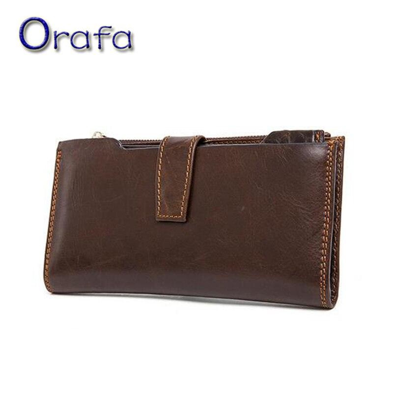 100% Genuine Leather men Wallet clutch wallets 2016 New Fashion Long Design Male Purse Cash Money Card Clip Men