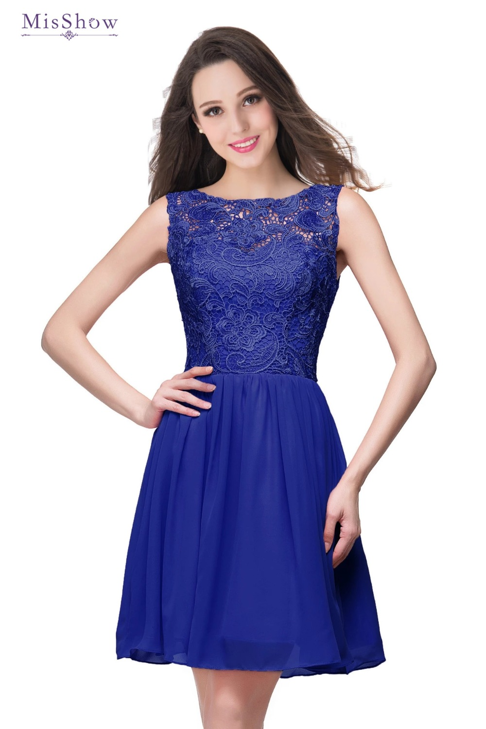 Different Colors 2019 Real Photos Lovely Sweetheart Lace Blue Chiffon   Bridesmaid     Dresses   Short Party   Dresses