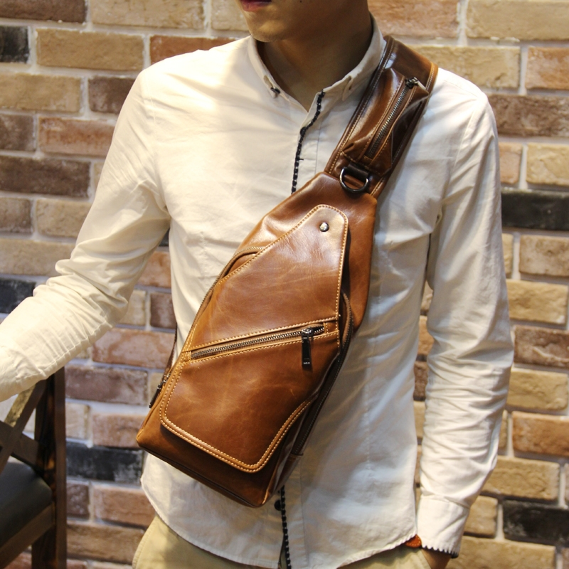 New Fashion Brand Men s Messenger Bags Retro Chest Pack Cross Body Chest Bag Small Casual