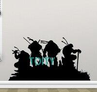 Turtles Ninja Teenage Mutant Duvar Çıkartması Boy Çocuklar Vinil Sticker Sanat Film Posteri H55cm x W104cm