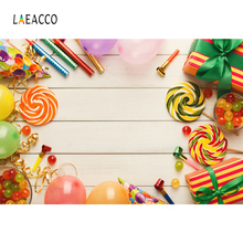 Laeacco Vinyl Backdrops For Photography Lollipops Candy Bar Dessert Party Baby Portrait Planks Photo Backgrounds Studio