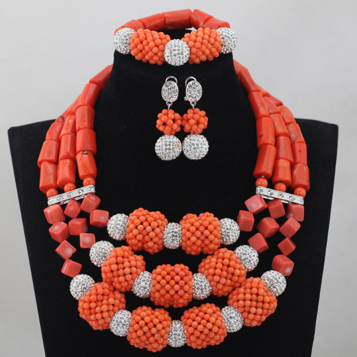 2016Latest Women Chunky African Coral Beads Wedding Jewelry Set Silver Jewelry Accessories Indian Bride Necklace Free ShipABL847