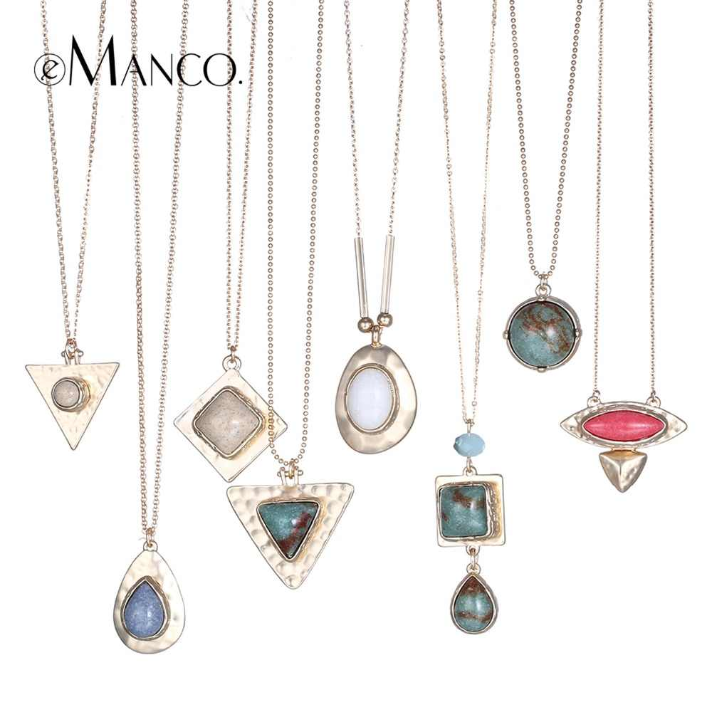 eManco 8 Color Popular Ethnic Geometric Statement Necklaces & Pendants Women Nature Stone Metal Chain Jewelry