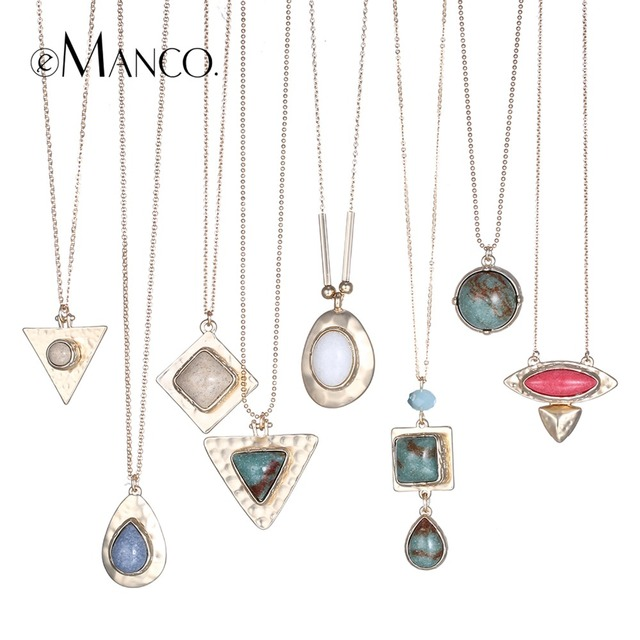 eManco 8 Color Popular Ethnic Geometric Statement Necklaces & Pendants Women Nat