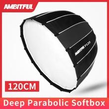 Ambitful p120 portátil 120 cm 16 hastes de metal softbox parabólico profundo bowens montagem estúdio flash speedlite refletor estúdio softbox
