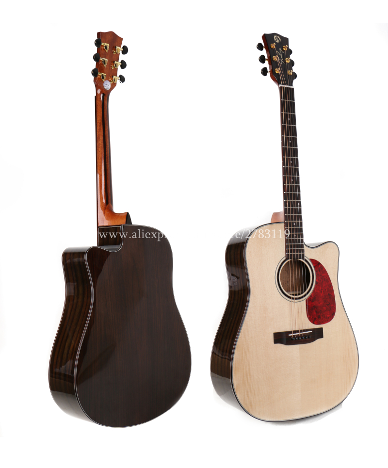 professional cutaway 41 acoustic guitars solid spruce top rosewood body guitarra eletrica with. Black Bedroom Furniture Sets. Home Design Ideas