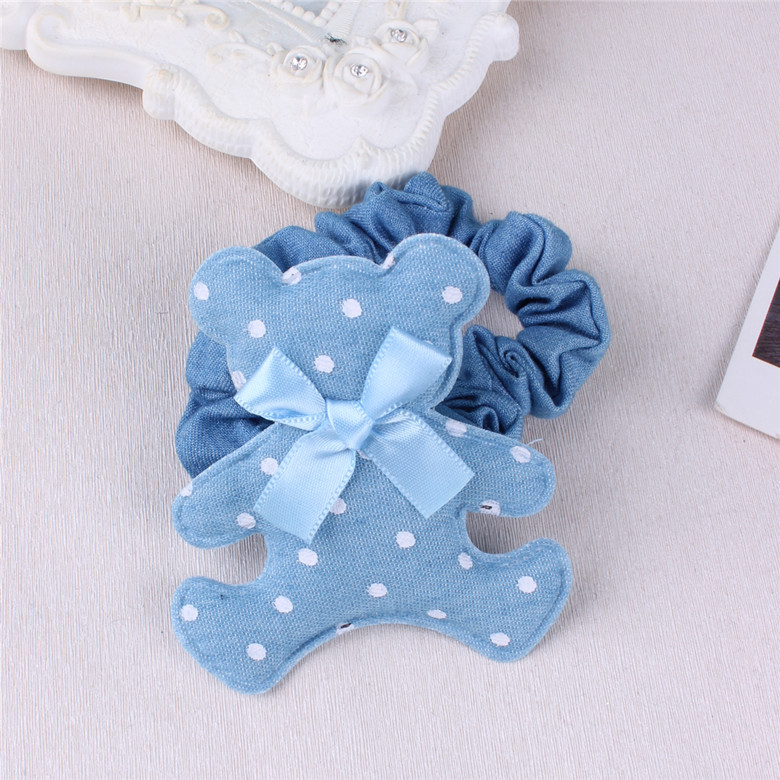 Denim Little Bear With Tiny Bow Hair Ties For Girls Polka Dots Elastic Hair Bands Ponytail Holder Hair Accessories For Women
