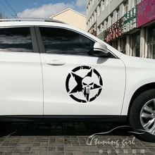 цена на Car Stickers Pentacle Five-pointed Star Skulls Punisher Creative Decals Vinyls Auto Tuning Styling 25cm 33cm 50cm D23