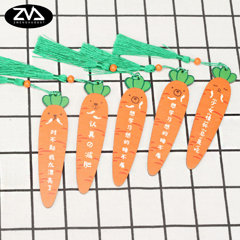 1X Creativity Cartoon Carrot Wooden Bookmark Marking Stationery Decoration Bookmark Kawaii School Supplies Gift