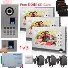 "SUNFLOWERVDP 7"" Video Intercom With Recording Intercom Key IP65 Waterproof Fingerprint/Code Unlock Video Doorphone Systems 1V3"
