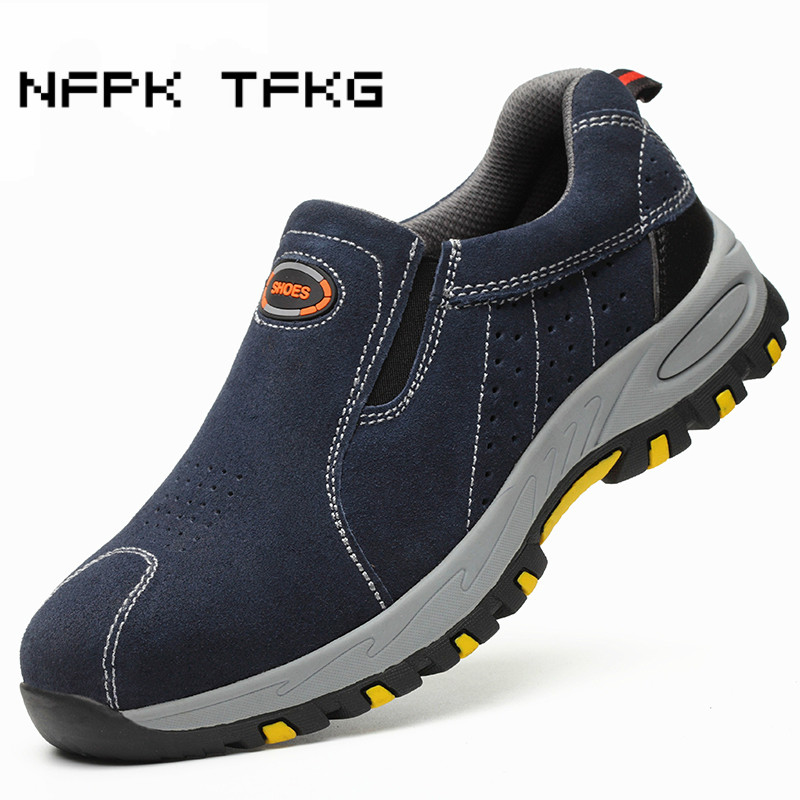 big size men's causal steel toe cap working safety shoes slip on cow suede leather puncture proof security boots protection male