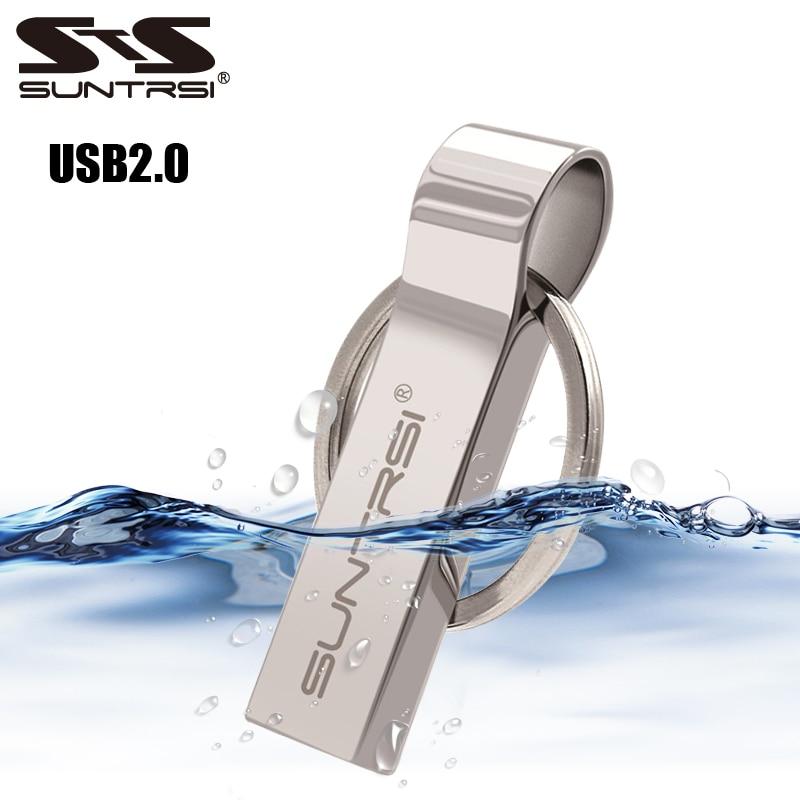 Suntrsi Metal USB Flash Drive 32gb For Computer Pendrive 64gb 16gb Usb Stick Metal Key Chain Pen Drive 8gb High Speed Waterproof