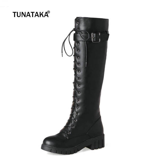 a6f76a9a55 Women's Lace Up Knee High Boots Thick Bottom High Heel Platform Combat  Boots Black Green Gray Plus Size