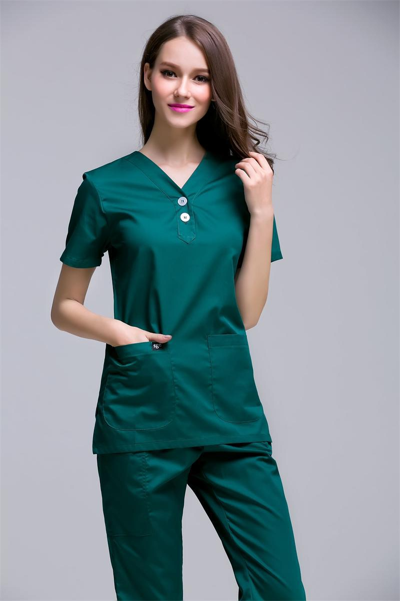 2017 Rushed New Arrival Women's Short Sleeve Medical Scrub Uniforms Set Beauty Spa Working Clothes Two Plastic Buttons At Centre