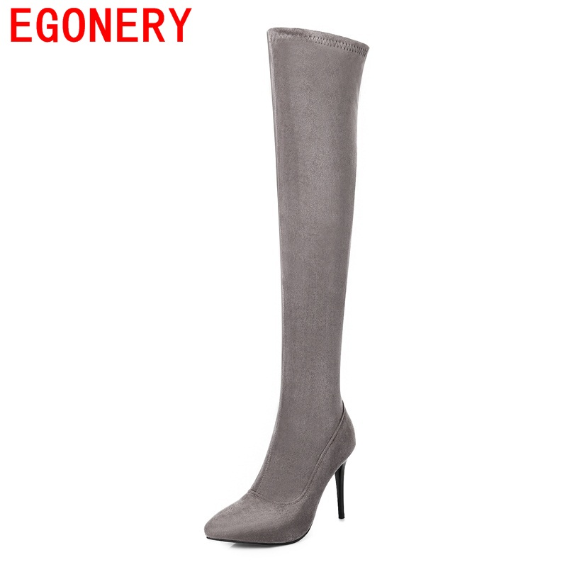 EGONERY shoes 2017 over-the-knee boots hot sale elegant women concise fashion pointed toe high quality high thin heels shoes high quality women shoes fashion pointed toe nubuck leather boots over the knee slip on high thin heels long boots for women