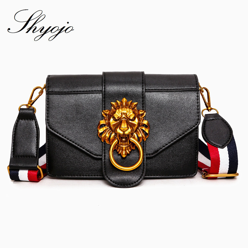 Luxury Famous Brand Black Mini Girls Shoulder Handbag PU Leather Messenger  Bag Lion Head Lock Crossbody Tote Female Evening Bags