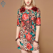 Ameision Fashion Runway Summer Dresses Womens Half Sleeve Sequin Floral Leopard Print Sexy Elegant Short Dress vestido