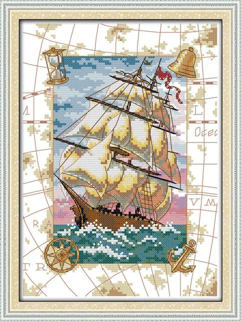 Landscape Cross Stitch Patterns Free Oceangoing Voyage Diy Handmade