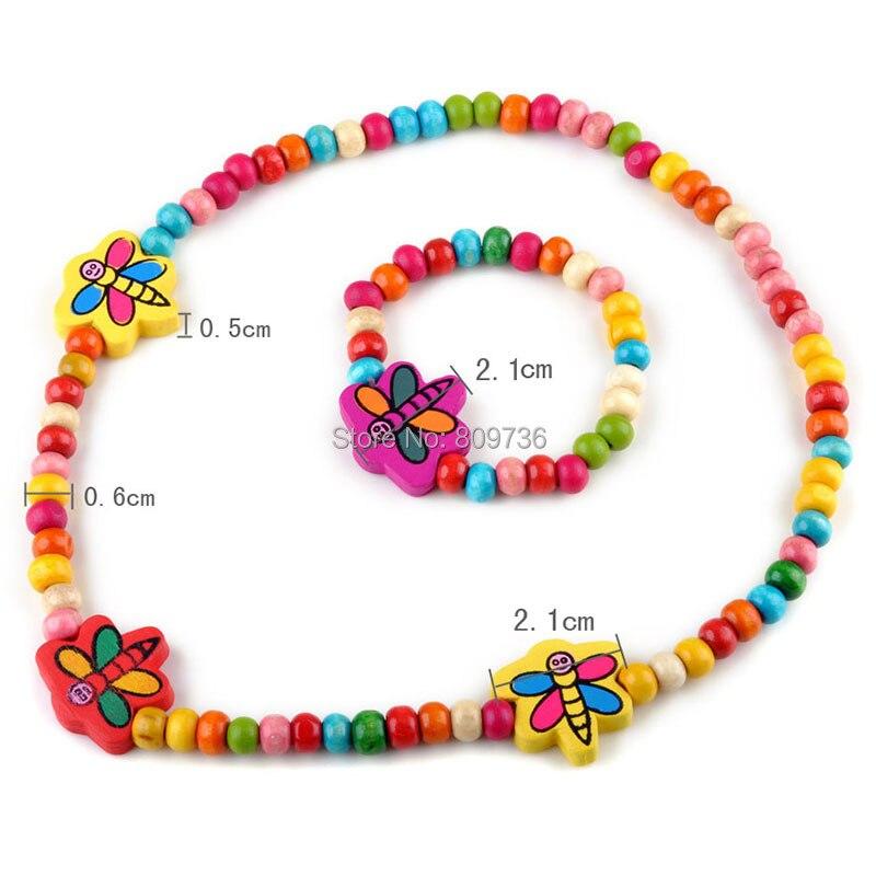 1 sets Wooden Beaded ladybug Necklace bracelet kids gift party supply