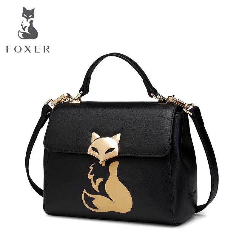цена на FOXER2018 new luxury fashion high-end small bag female box shoulder bag simple lock slung female bag tid