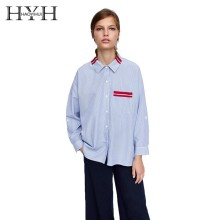 HYH Haoyihui 2019 New Personality Lapel Coat Chest Contrast Belted Patch Pocket Single-breasted Asymmetrical Hem Striped Shirt