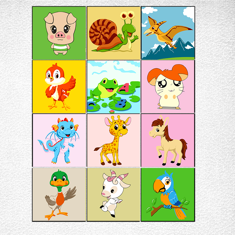 20x20cm framed DIY Coloring paint by numbers cute animals kits view couple pictures paintings by numbers gift for kids