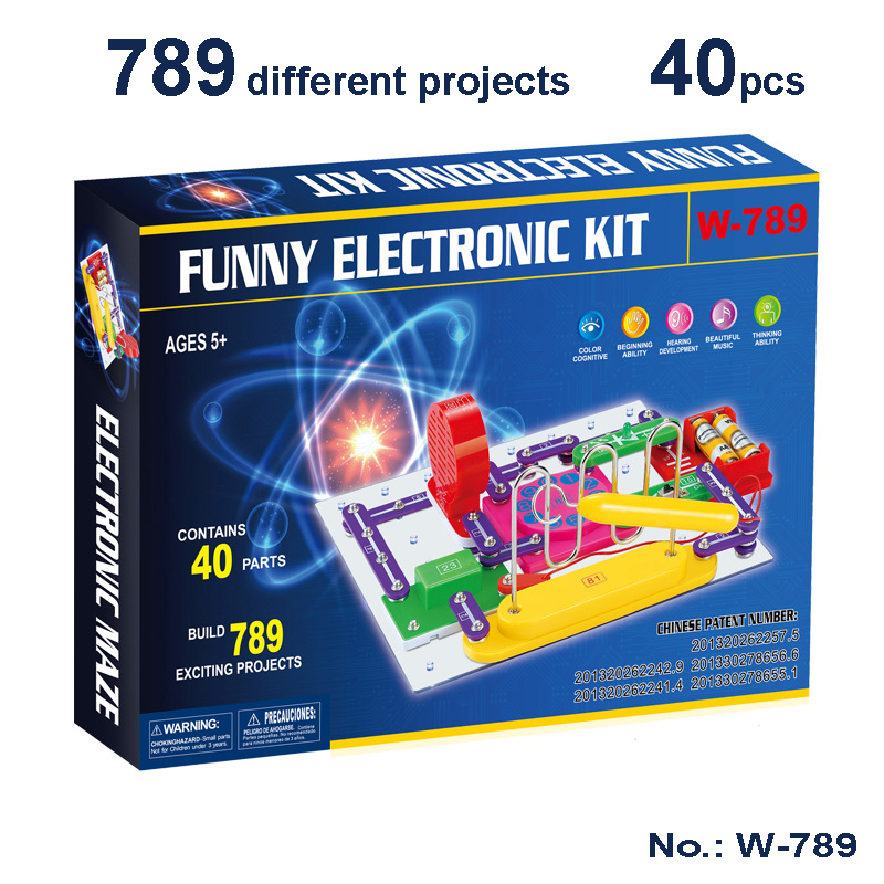 New Technic Kids Electronics Blocks Kit Switch Circuits Electronics Discovery Kit Science Educational Toys For Children W789