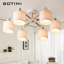 BOTIMI Nordic wood ceiling lights for living room bedroom solid fabric lamp in Japan style surface mount E27 chandelier