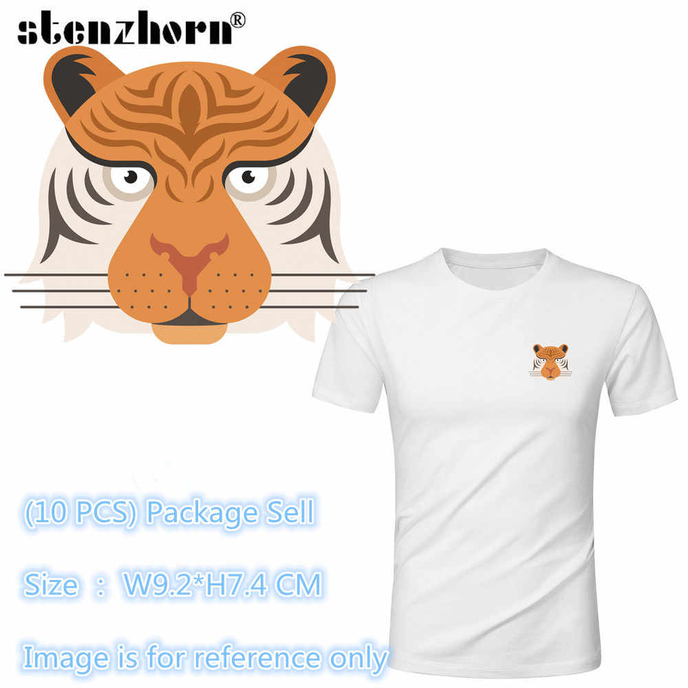 (10pcs)Tiger Dog Lion Animal badge Heat Transfer Stickers Washable Iron On Applique For T-shirt POLO DIY Clothes Decoration