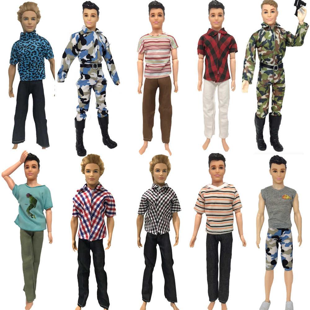 NK один шт Кукла повседневная одежда футболка брюки Летняя одежда Короткие штаны Одежда для Кена смешанный стиль для Барби Кен Кукла аксессуары JJ