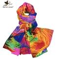 Bohemia estilo colorido da pena lenços arco-íris magnífico xales top - qualidade bandana design elegante longo verão chiffon cachecol