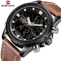 Mens Watches To Luxury Brand Men Leather Sports Watches NAVIFORCE Men's Quartz LED Digital Clock Waterproof Military Wrist Watch