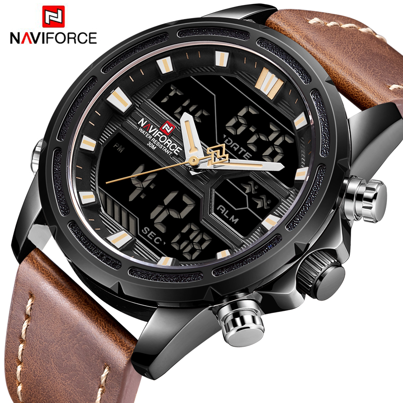 Mens Watches To Luxury Brand Men Leather Sports Watches NAVIFORCE Men's Quartz LED Digital Clock Waterproof Military Wrist Watch luxury top brand men watch leather sports watches naviforce men s quartz led digital clock waterproof military wrist watch male