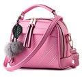 2017 Новая Мода Сумки На Ремне с меха мяч пу пену щитка сумка небольшая сумка сумка Сплошной Цвет корея женщины crossbody мешок
