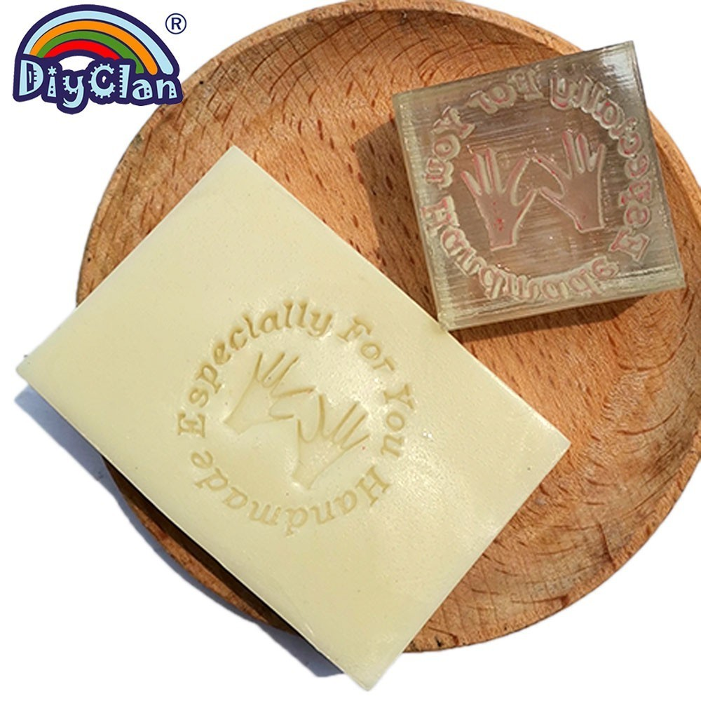 Jabón hecho a mano especialmente para ti, jabón de resina con las manos, jabón transparente, Capítulo de sellos con patrón de mango personalizado Z0088SZ