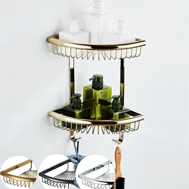 Luxo cristal ouro latão prateleiras do banheiro suporte de canto cesta de banho Acessórios Do Banheiro hardware banho shampoo EL30023