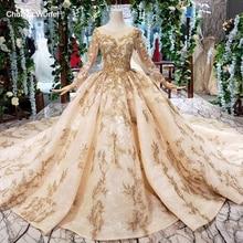 HTL393 di lusso doro del merletto abito da sposa con velo da sposa o collo manica lunga v back abiti da sposa principessa doro perline mariage